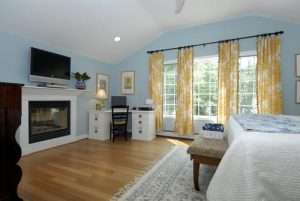 a completely remodeled second floor master bedroom
