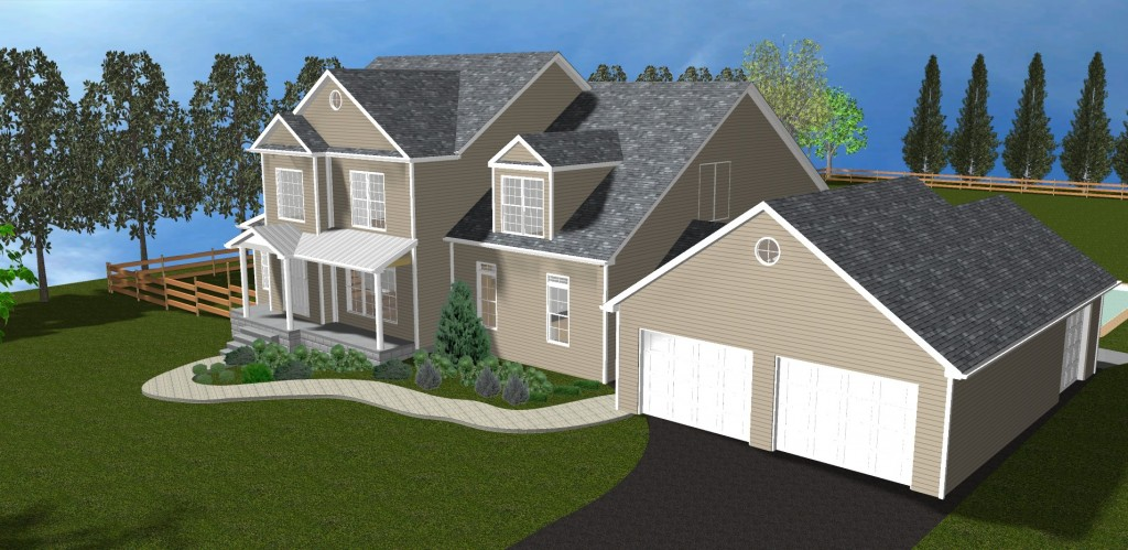 3D rendering of home exterior used by home remodelers