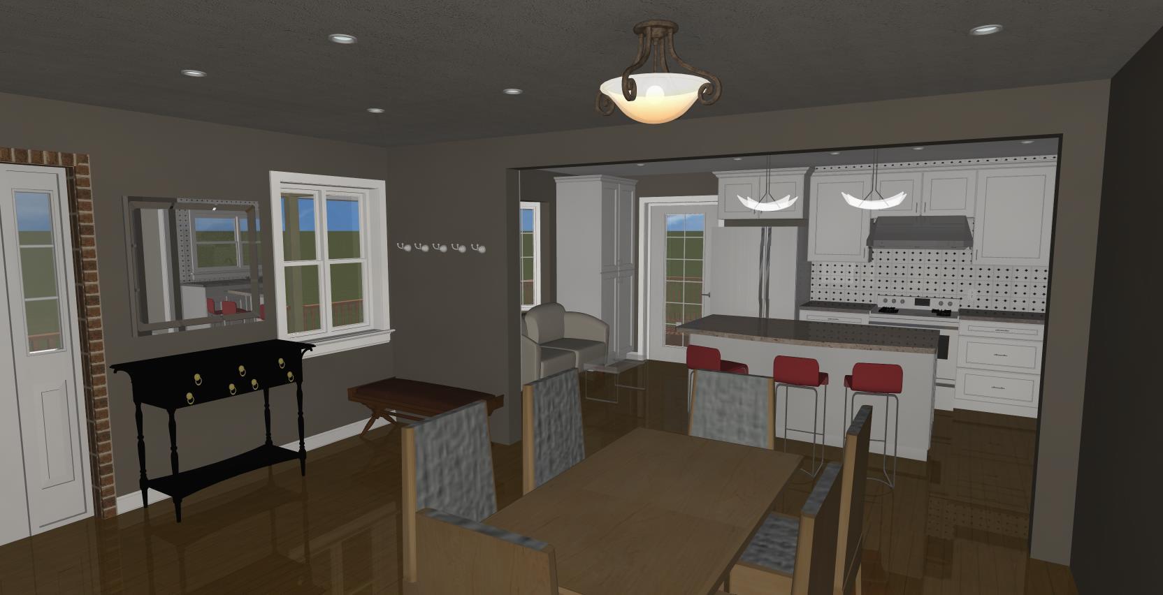 3D design rendering of a kitchen remodel