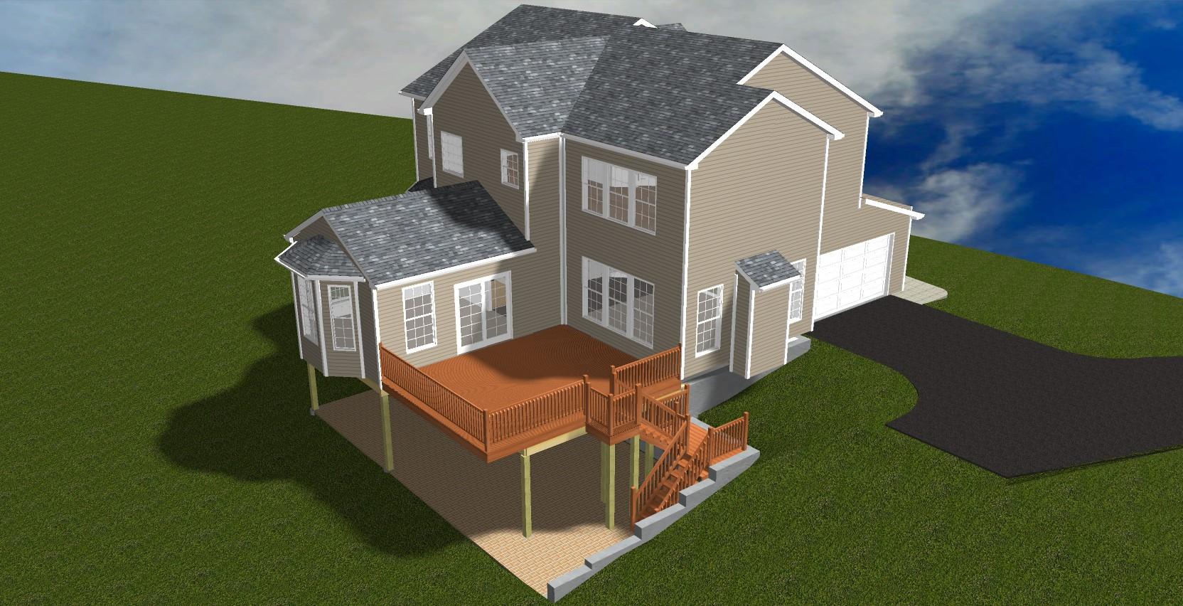 home remodeler's 3D design of raised deck