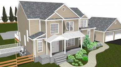 elaborate 3D rendering of exterior home remodel