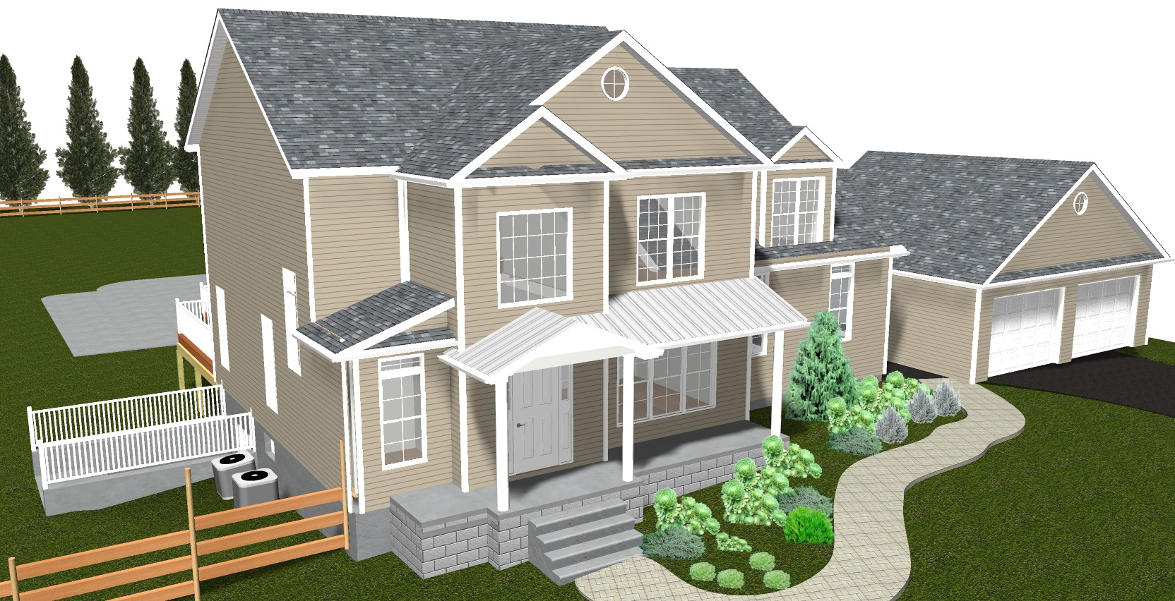 elaborate 3D rendering of exterior home remodel