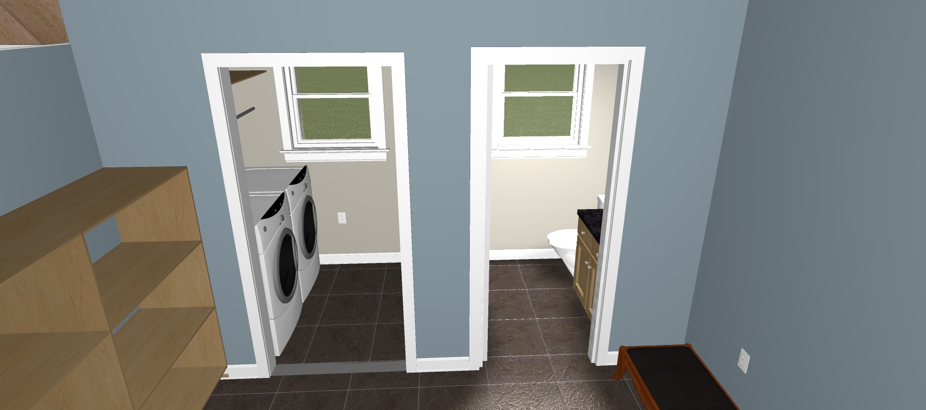 3D rendering of laundry and powder room