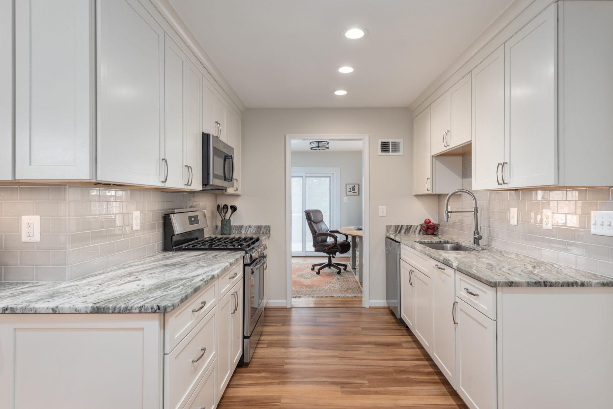 white galley kitchen around $60,000