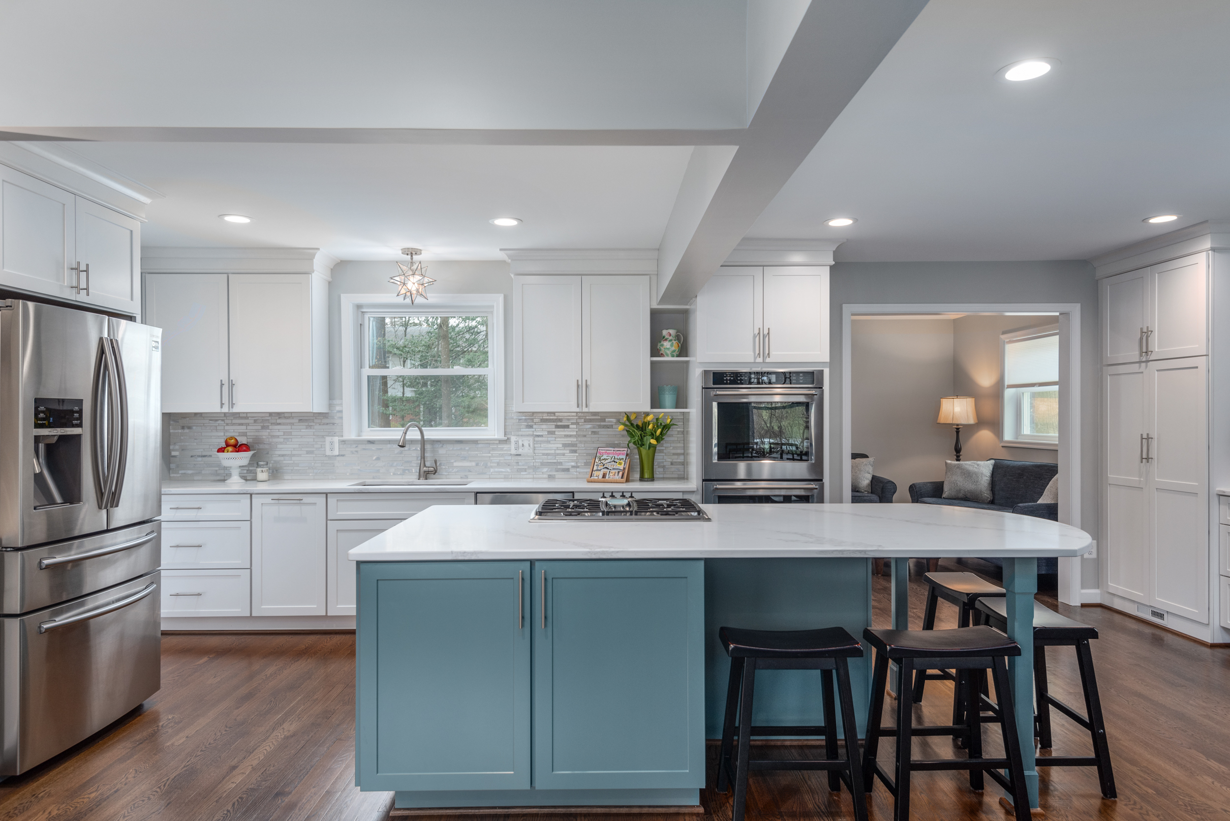kitchen remodeling project 2019 - beautiful white kitchen with pale blue accents