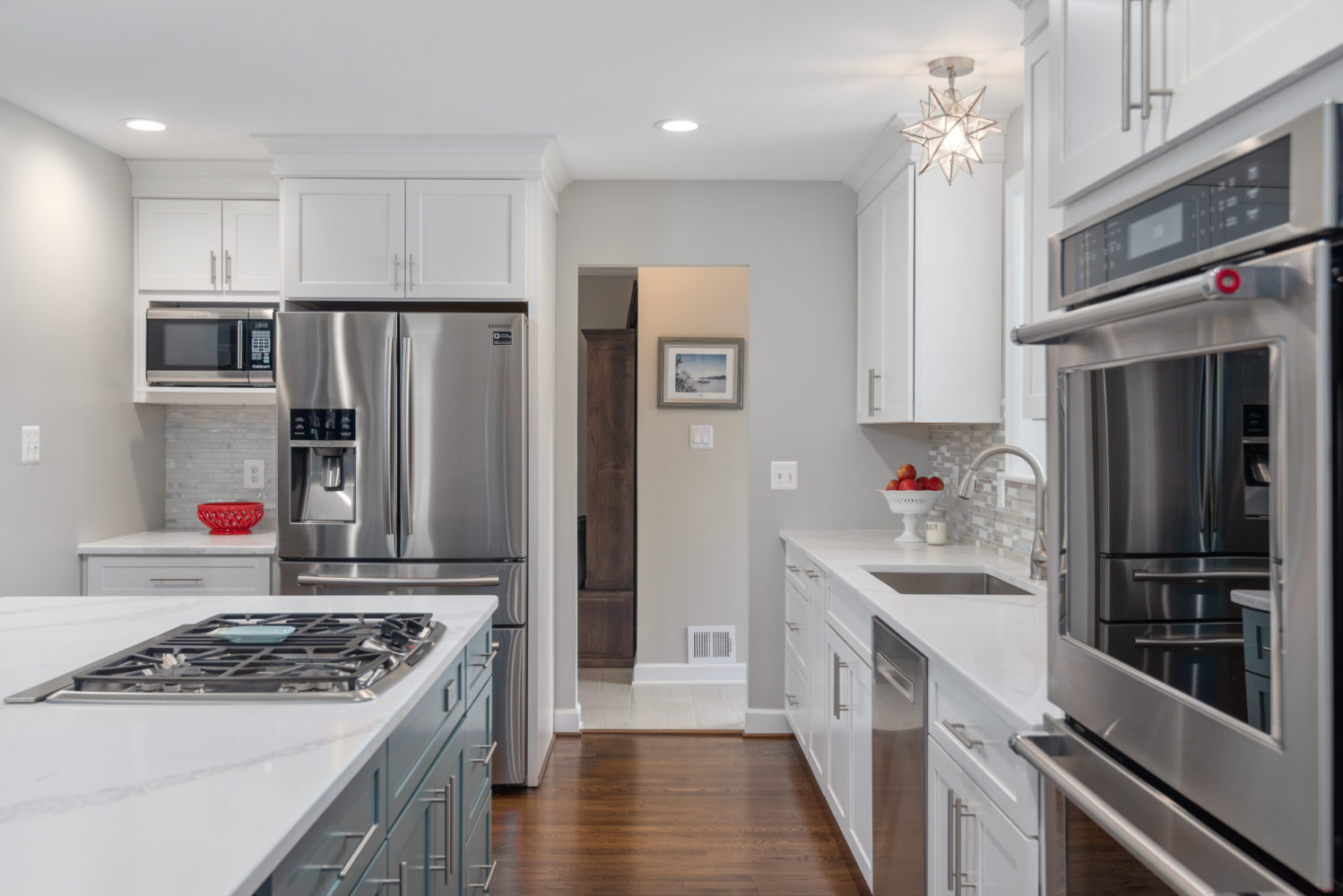white and gray galley kitchen