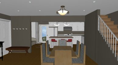 virtual rendering of computer-aided design kitchen