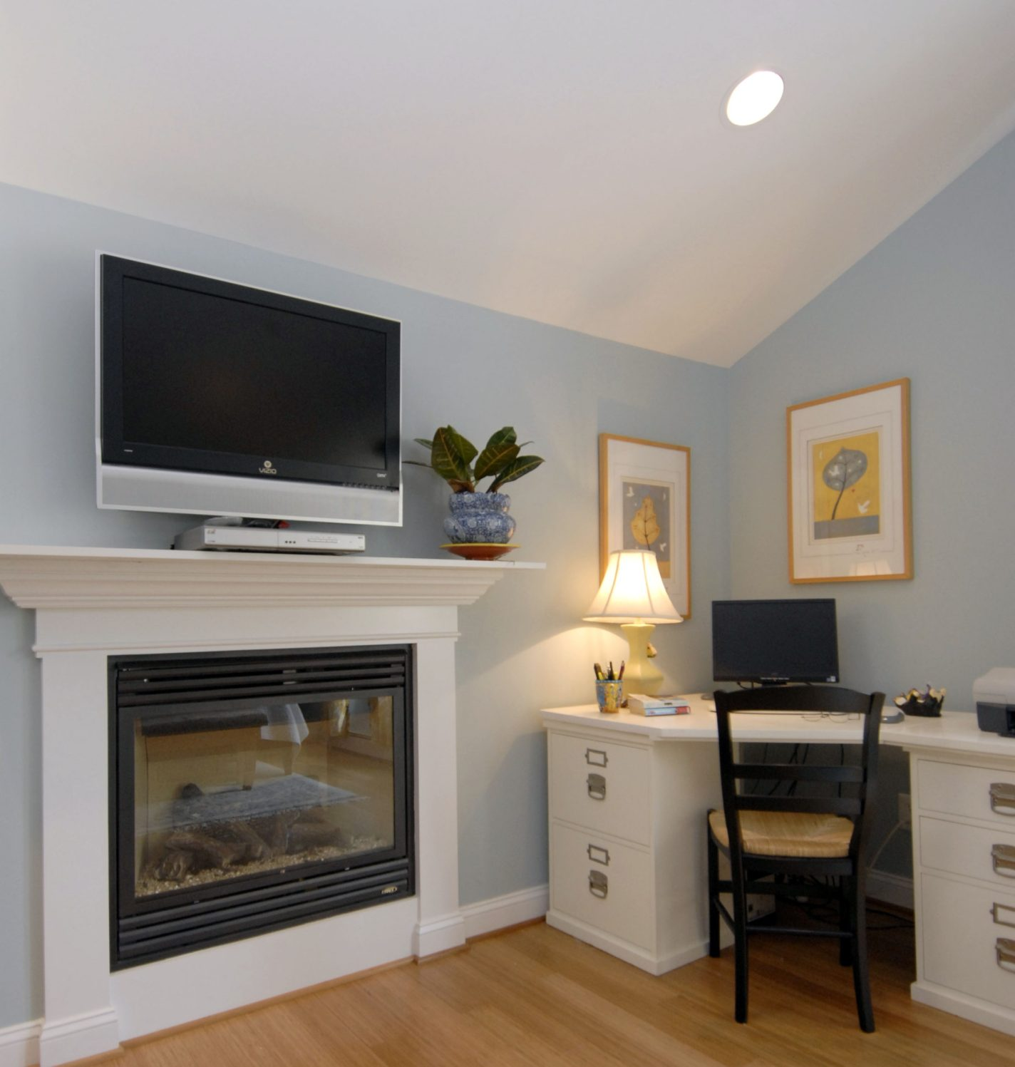 Fairfax, VA bedroom attic addition with fireplace office space