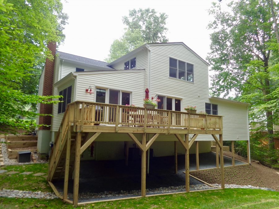 beautiful home addition and deck in spring