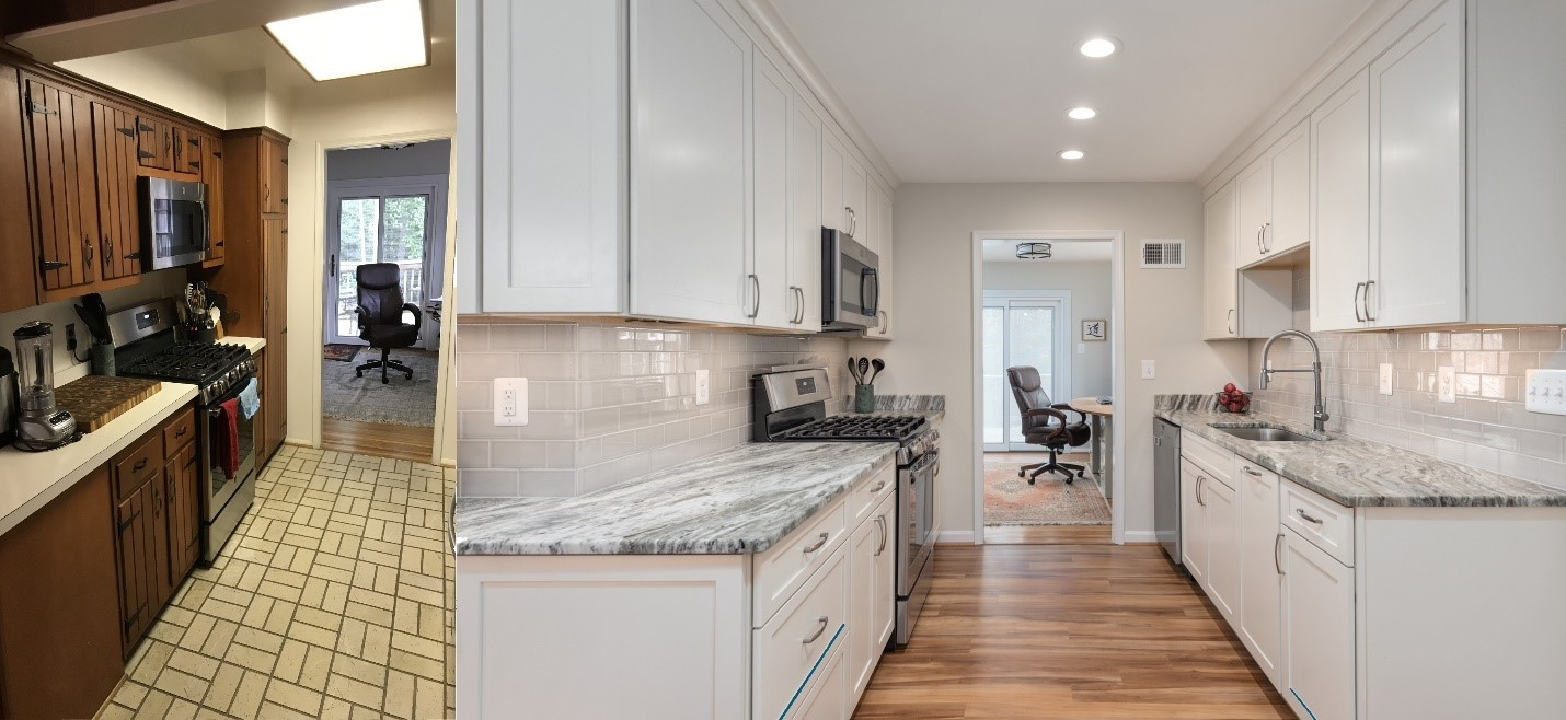 remodeled kitchen in northern Virginia - before and after