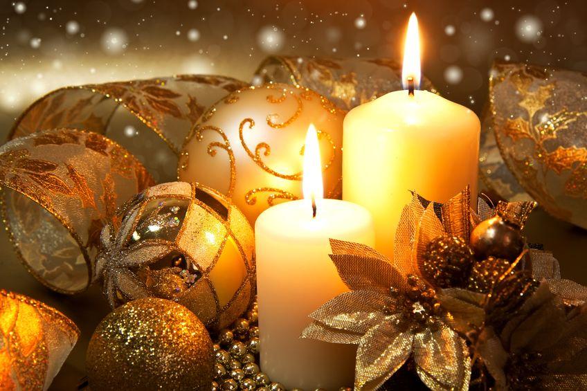 Christmas balls and candles - warm