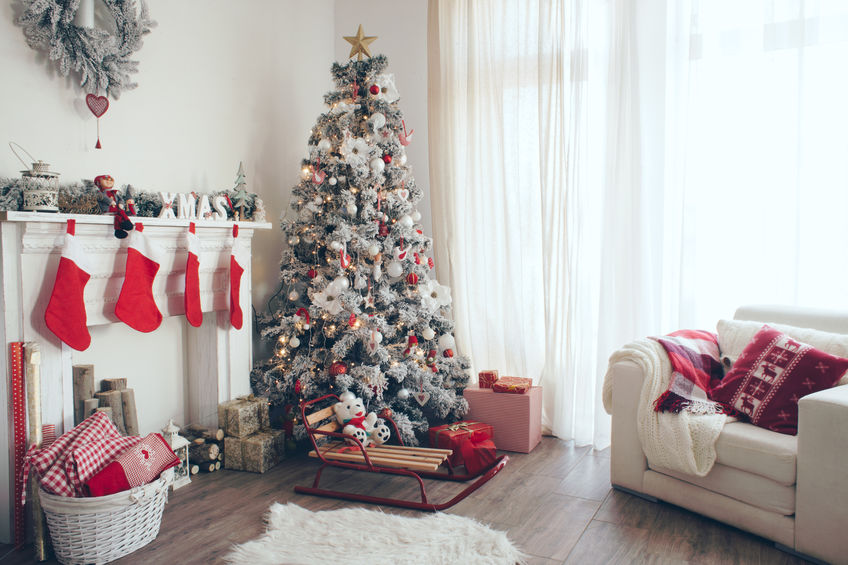 white and red Christmas decor and tree