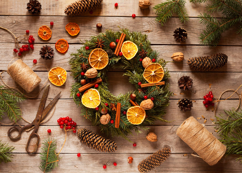 Christmas wreath with natural decorations