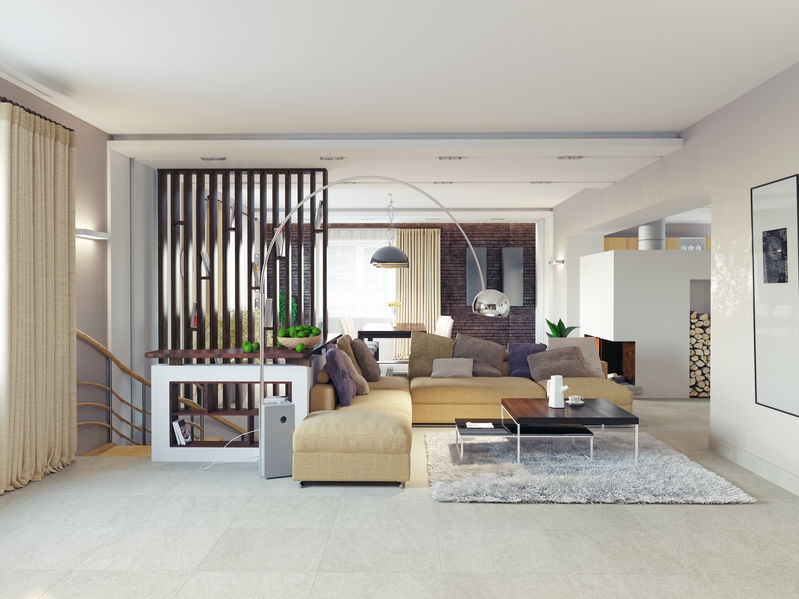 modern living room with open partition