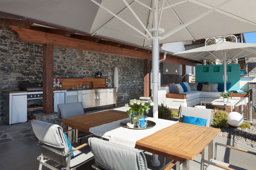 outdoor dining terrace with kitchen