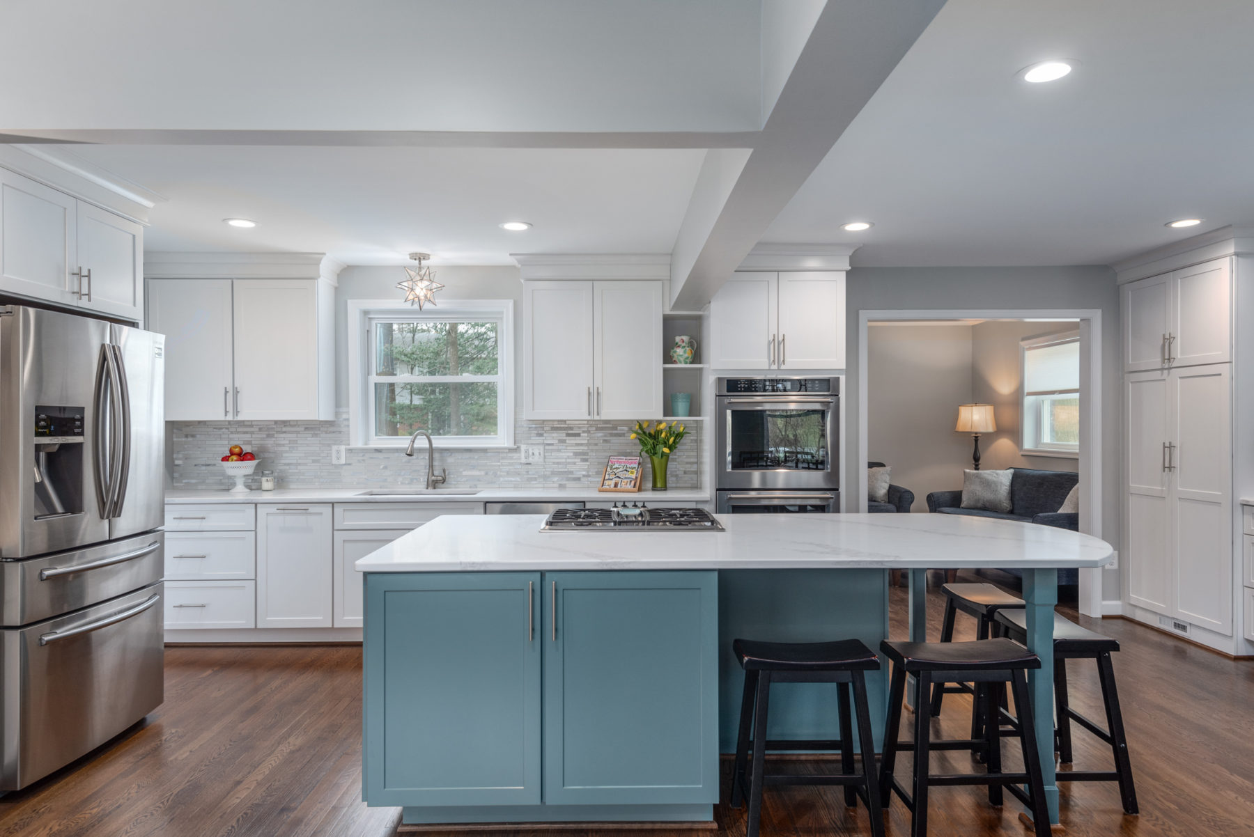 beautiful white and pale blue kitchen remodel in Fairfax, Virginia